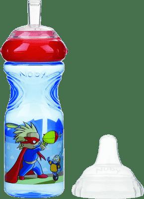 NUBY Netekoucí láhev se silikonovým pítkem 300ml, 9m+, modrá s červeným víčkem – traktor