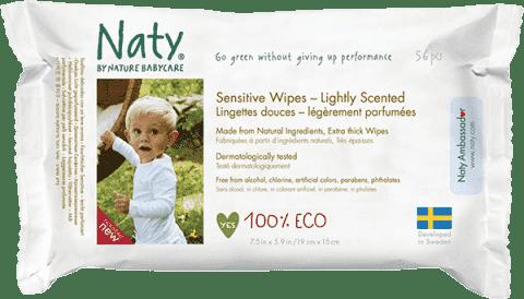 NATY NATURE BABYCARE ECO Sensitive 56 ks, parfumované - vlhčené obrúsky
