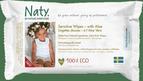 NATY NATURE BABYCARE ECO Sensitive 56 ks, aloe - vlhčené ubrousky