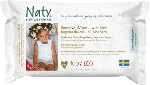 NATY NATURE Babycare Eco Sensitive 56 szt., aloe - chusteczki nawilżane