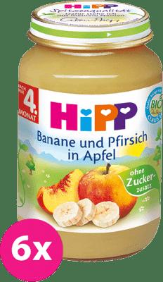 6x HiPP jablkový s banány a broskvemi (125 g) - ovocný příkrm