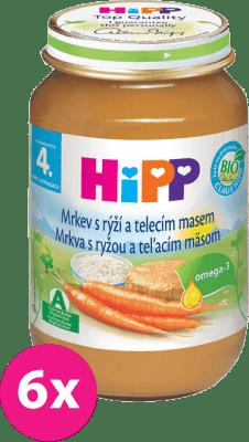 6x HIPP BIO karotka s ryžou a teľacím mäsom (190 g) - mäso-zeleninový príkrm