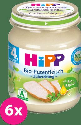 6x HIPP BIO Morčacie mäso (125 g) - mäsový príkrm
