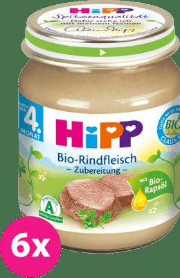 6x HIPP BIO Hovädzie mäso (125 g) - mäsový príkrm