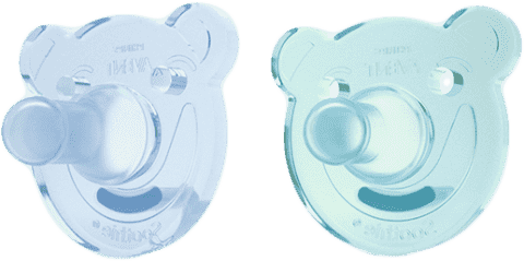 AVENT Cumlík Soothie (0-3m) silikón 2 ks – chlapec, modrý+tyrkysový