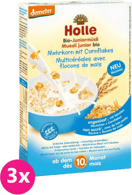 3x HOLLE Organické junior müsli vícezrnné s kukuřičnými lupínky, 250 g
