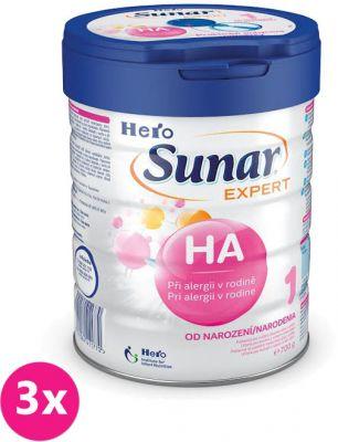 3x SUNAR Expert HA 1 (700 g) – počiatočné dojčenské mlieko