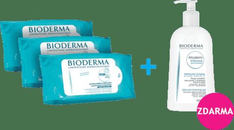 BIODERMA ABCDerm vlhčené ubrousky 180ks + Gel moussant 500ml