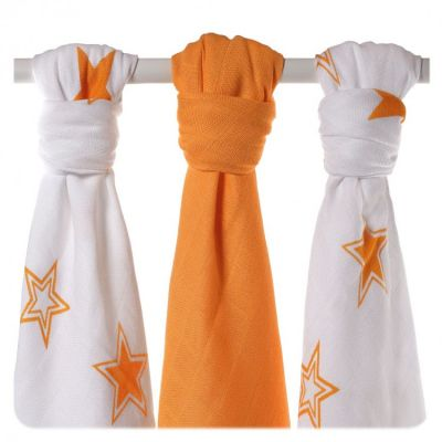 KIKKO Bambusové pleny Stars 70x70 (3 ks) – orange
