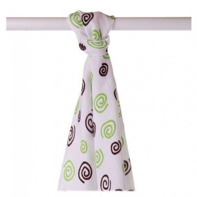 KIKKO Bambusová osuška/plena Spirals&Bubbles 90x100 (1 ks) – lime spirals