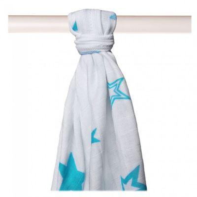 KIKKO Bambusowy ręcznik/pieluszka Stars 90x100 (1 szt.) – turquoise