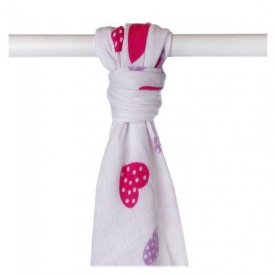 KIKKO Bambusowy ręcznik/pieluszka Hearts&Waves 90x100 (1 szt.) – lilac hearts
