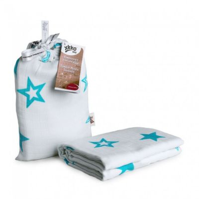 KIKKO Bambusowy otulacz Stars 120x120 (1 szt.) – turquoise