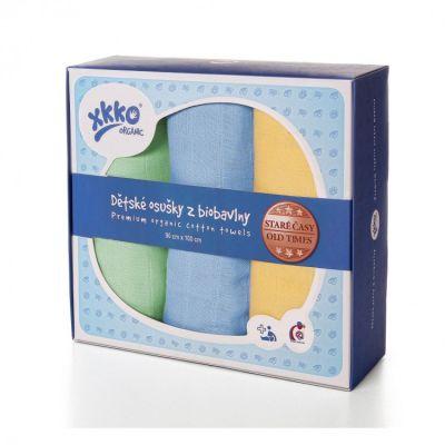 KIKKO Dziecięce ręczniczki/ pieluszki z biobawełny Retro 90x100 (3 szt.) – pastels dla chłopców