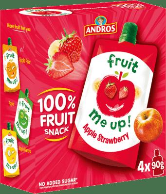 4x FRUIT ME UP! Ovocné pyré jablko – jahoda 90g