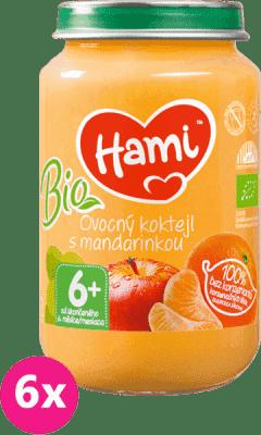 6x HAMI Bio ovocný koktejl s mandarinkou (200 g) - ovocný příkrm