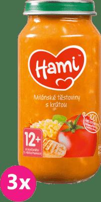 3x HAMI Milánské těstoviny s krůtou (250 g) - maso-zeleninový příkrm