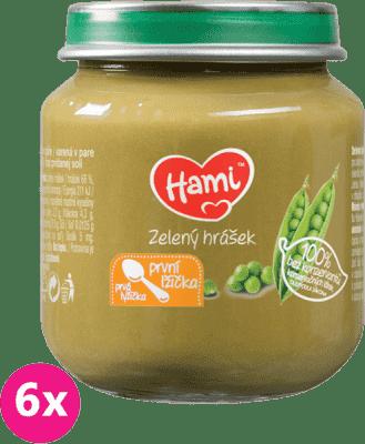 6x HAMI Zelený hrášek (125 g) - zeleninový příkrm