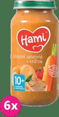 6x HAMI Zahradní zelenina s krůtou (250 g) - maso-zeleninový příkrm