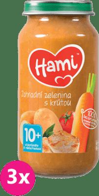 3x HAMI Zahradní zelenina s krůtou (250 g) - maso-zeleninový příkrm