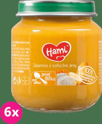 6x HAMI Zelenina s kuřecím masem (125 g) - maso-zeleninový příkrm