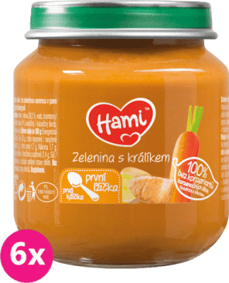 6x HAMI Zelenina s králíkem (125 g) - maso-zeleninový příkrm