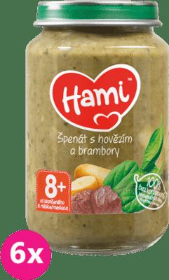 6x HAMI Špenát, brambory a hovězí (200 g) - maso-zeleninový příkrm