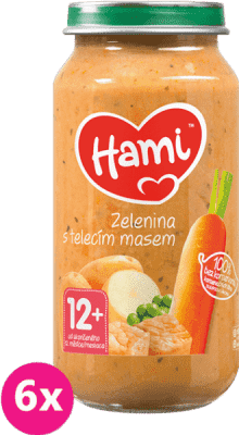 6x HAMI Roláda - zelenina a telecí maso (250 g) - maso-zeleninový příkrm