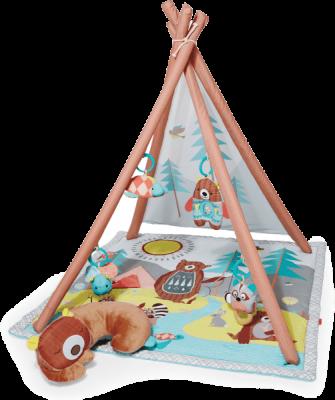 SKIP HOP Deka na hraní 4 hračky, polštářek Camping Cubs 0 m+
