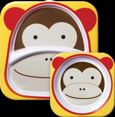 SKIP HOP Zoo Jídelní set melaminový Opička 6 m+