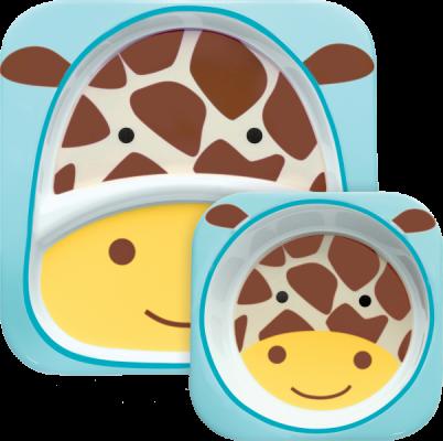 SKIP HOP Zoo Jídelní set melaminový Žirafa 6 m+