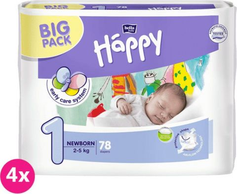 4x BELLA HAPPY Newborn 1 (2-5 kg) Big Pack 78ks - jednorázové plienky