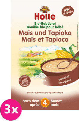 3x HOLLE Organická kukuřičná kaše s tapiokou, 250 g