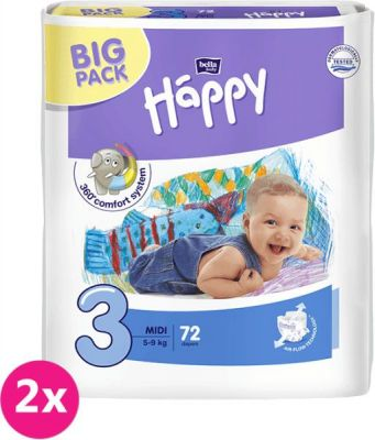 2x BELLA HAPPY Midi Big Pack 3 (5-9kg) 72 ks – jednorazové plienky