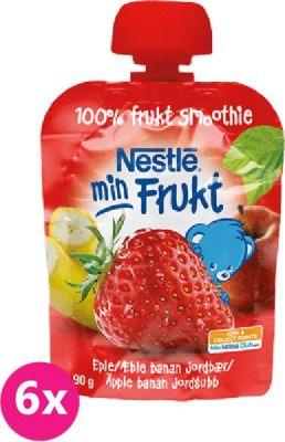 6x NESTLÉ Min Frukt Jablko Banán Jahoda (90 g) – ovocná kapsička