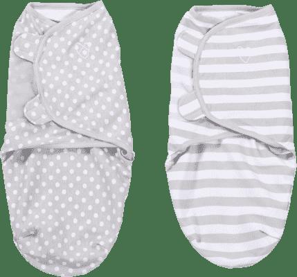 SUMMER INFANT Zavinovačka SwaddleMe šedé puntíky/šedé proužky 2ks