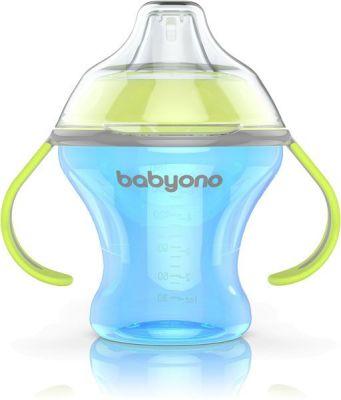 BABYONO Kubek niekapek z miękkim ustnikiem Natural Nursing 180 ml (3m+) – niebieski