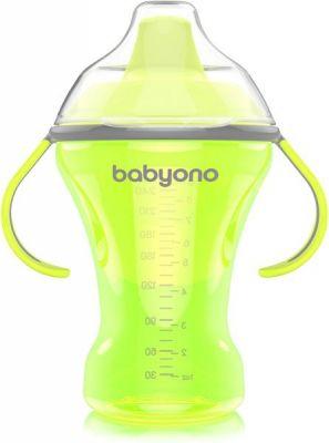 BABYONO Kubek niekapek z twardym ustnikiem Natural Nursing 260 ml (6m+) – zielony