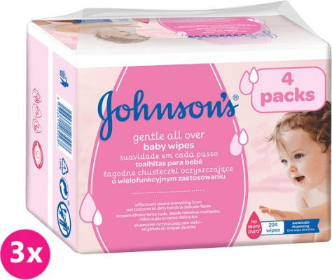 3x JOHNSON'S BABY Gentle all over 224 ks - vlhčené ubrousky