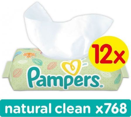 12x PAMPERS Natural Clean (64ks) - čistiace obrúsky
