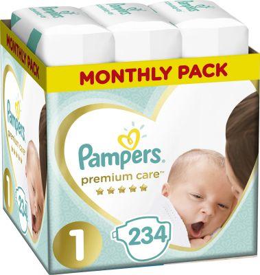PAMPERS Premium Care 1 NEWBORN 234 ks (2-5 kg) MĚSÍČNÍ BALENÍ – jednorázové pleny