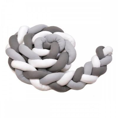 T-TOMI Pletený mantinel 180 cm, white + grey + anthracite