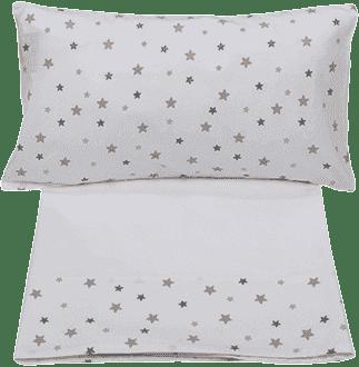 GLOOP Pościel do łóżeczka (poszewka, poszwa, prześcieradło białe) Stars