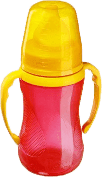 LOVI Tréningový hrnček s náustkom 250ml bez BPA - červená