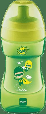 MAM Hrnek SPORTS CUP 330 ml, 12+ měsíců, žluto-zelená – náhodný motiv