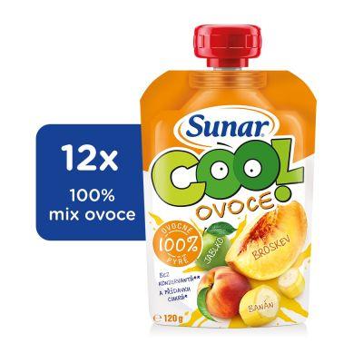 12x SUNAR Cool ovoce Broskev-Banán-Jablko (120 g) – ovocný příkrm