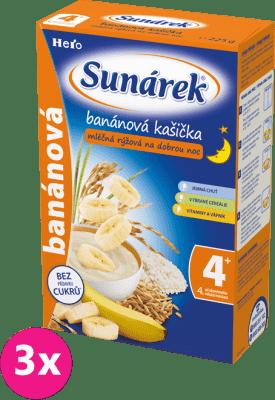 3x SUNÁREK Banánová kašička na dobrou noc (225 g) - mléčná kaše