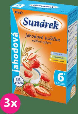 3x SUNÁREK Jahodová kašička mliečna (225 g)