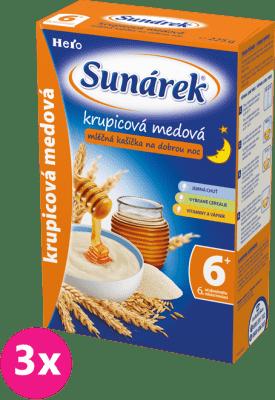 3x SUNÁREK Dobrú noc krupicová kašička mliečna s medom (225 g)