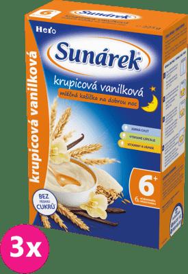 3x SUNÁREK Krupicová kašička s vanilkou na dobrou noc (225 g) - mléčná kaše